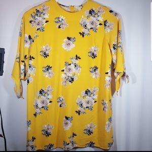 Ava & Viv Plus 4X trendy yellow Floral dress tunic